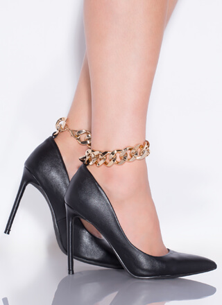 I Need A Chain-ge Faux Leather Pumps