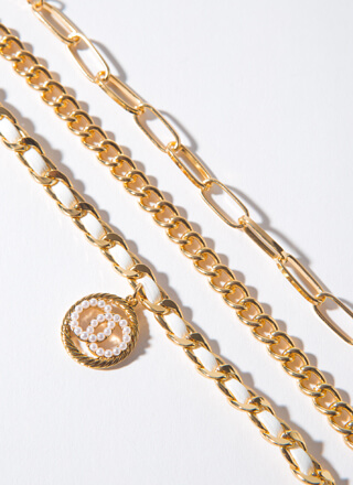 Rings And Pearls Chain Bracelet Trio