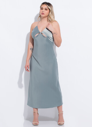 Cut-Out Of My Life Open-Back Satin Maxi