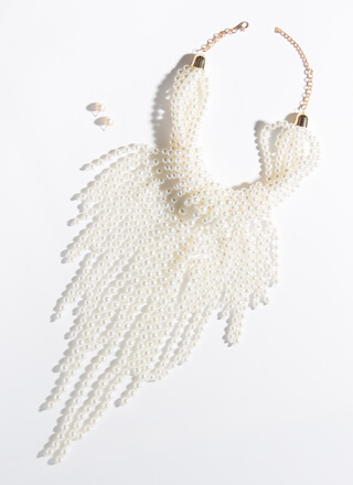Pearls On Pearls Long Bib Necklace Set