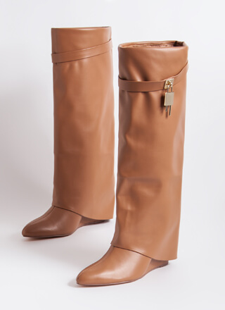 New Chap Folded Faux Leather Wedge Boots