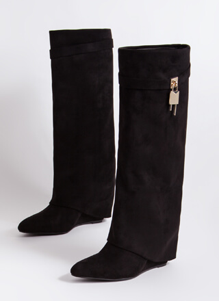 New Chap Folded Faux Suede Wedge Boots