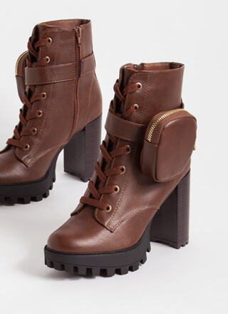 I'll Pouch For You Faux Leather Booties