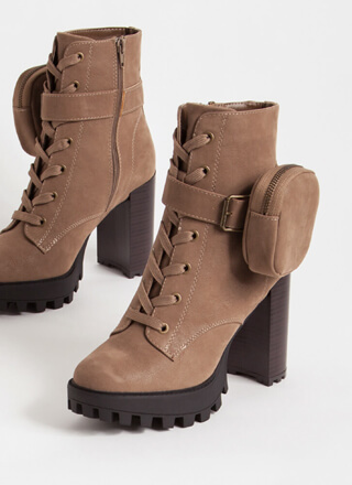 I'll Pouch For You Faux Nubuck Booties