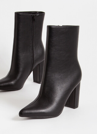 Style Points Faux Leather Booties
