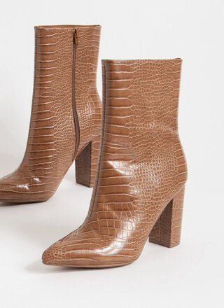 Style Points Faux Crocodile Booties