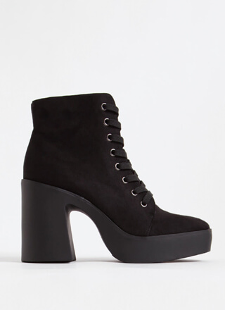 90's Baby Chunky Faux Suede Booties