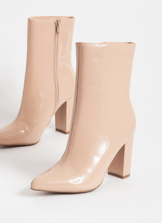 Style Points Faux Patent Booties