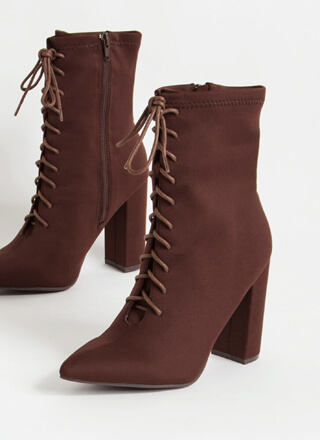 Let's Do It Chunky Lace-Up Lycra Booties