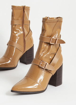 London Strappy Faux Patent Booties