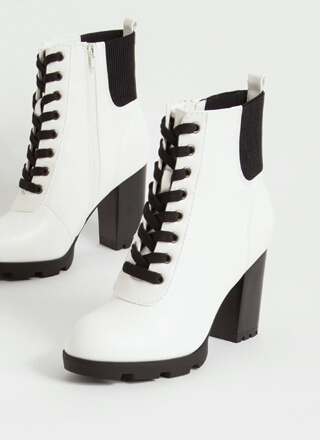 Go For It Chunky Lace-Up Booties