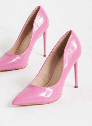 Glossy Pointy Faux Patent Stiletto Pumps