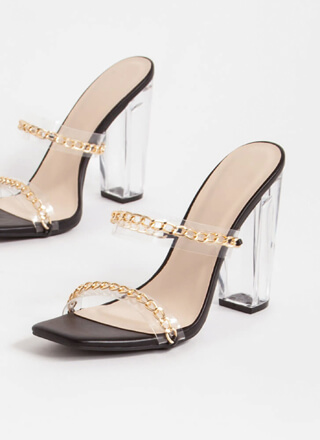 Clear Link Faux Leather Chain Heels