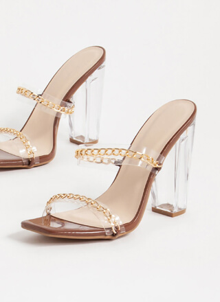 Clear Link Faux Patent Chain Heels