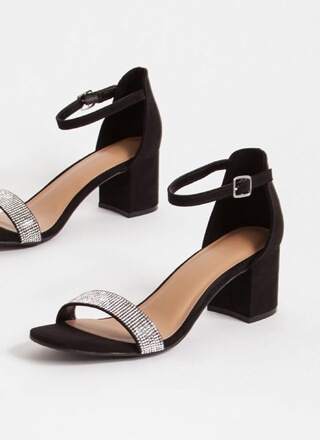 Sparkle Jeweled Faux Leather Block Heels
