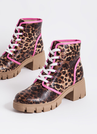 Animal Rights Patterned Block Heel Boots