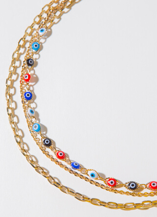 Eyes Wide Open Layered Chain Necklace