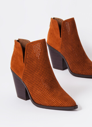 Hole Up Chunky Pointy Perforated Booties