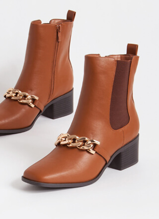 Chain Of Command Faux Leather Booties