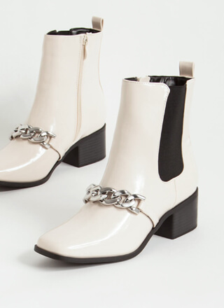 Chain Of Command Faux Patent Booties