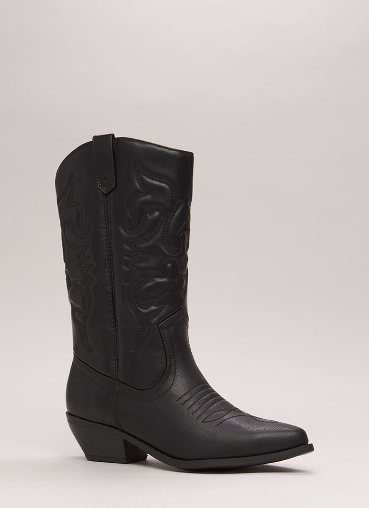 Stitched Design Cowgirl Boots BLACK