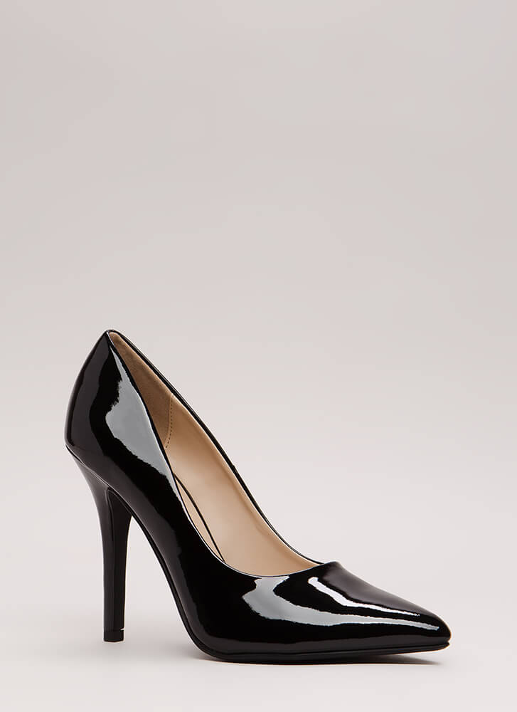 So Refined Pointy Faux Patent Pumps BLACK