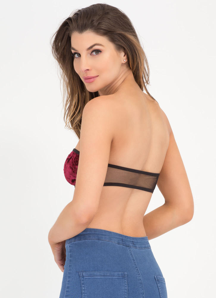 Bow Me Up Velvet Bandeau BURGUNDY (Final Sale)