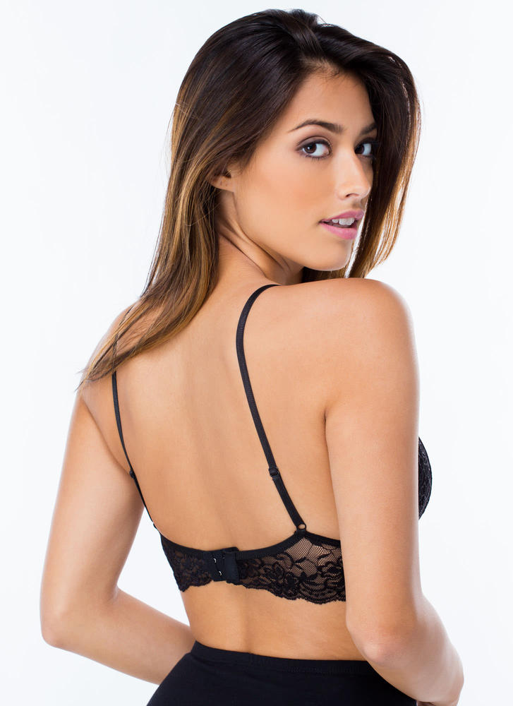 Feminine Flair Lace Bralette  BLACK (Final Sale)