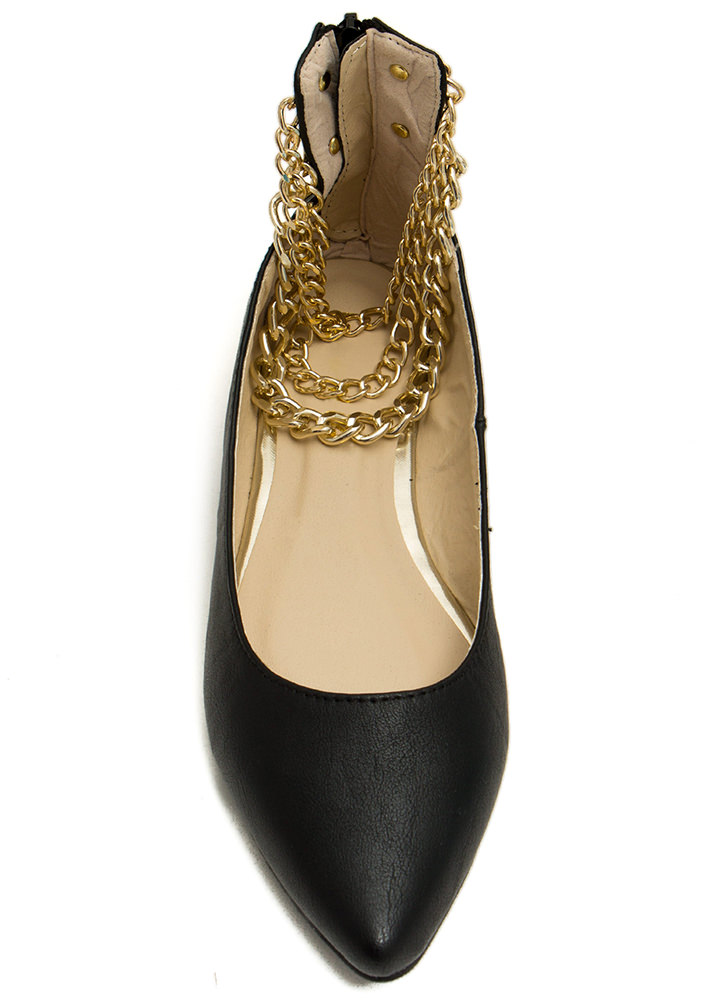 Three Chainz Pointy Ankle Flats BLACK