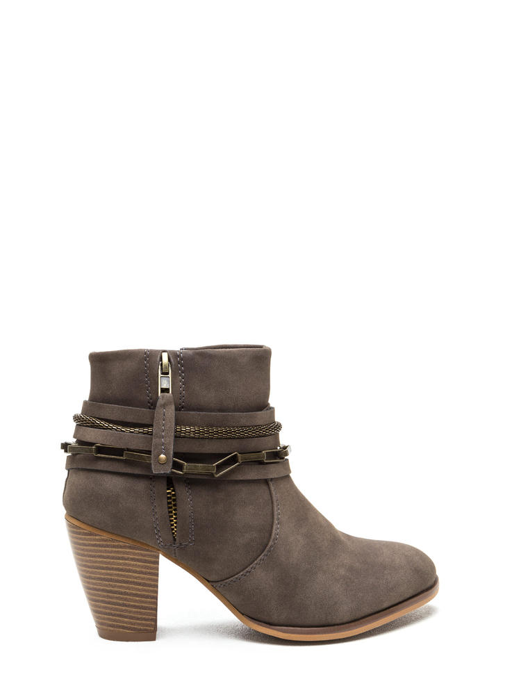 Mixed Chains Faux Leather Booties GREY