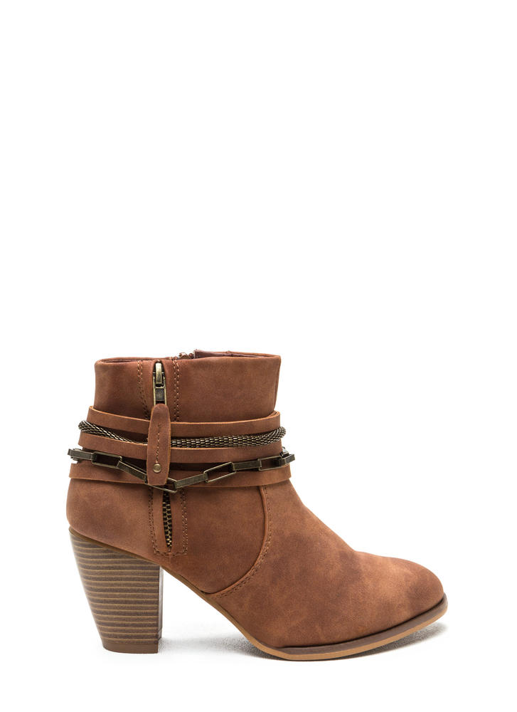 Mixed Chains Faux Leather Booties TAN