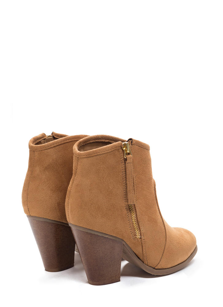 Zipped To The Top Chunky Booties TAN