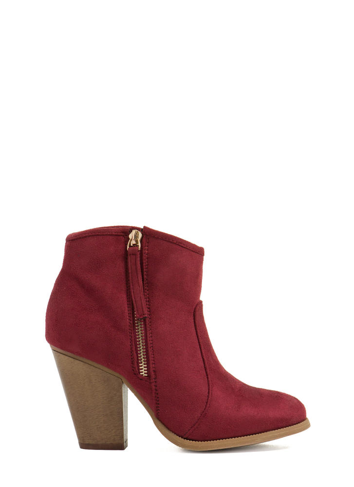 Zipped To The Top Chunky Booties WINE