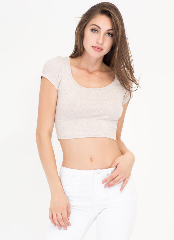 Cover Your Basics Scoopneck Crop Top OATMEAL
