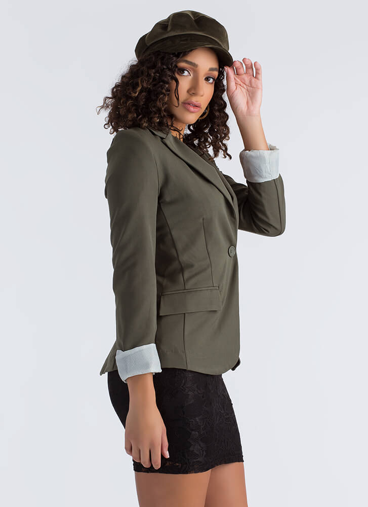 Business Or Pleasure Basic Blazer OLIVE