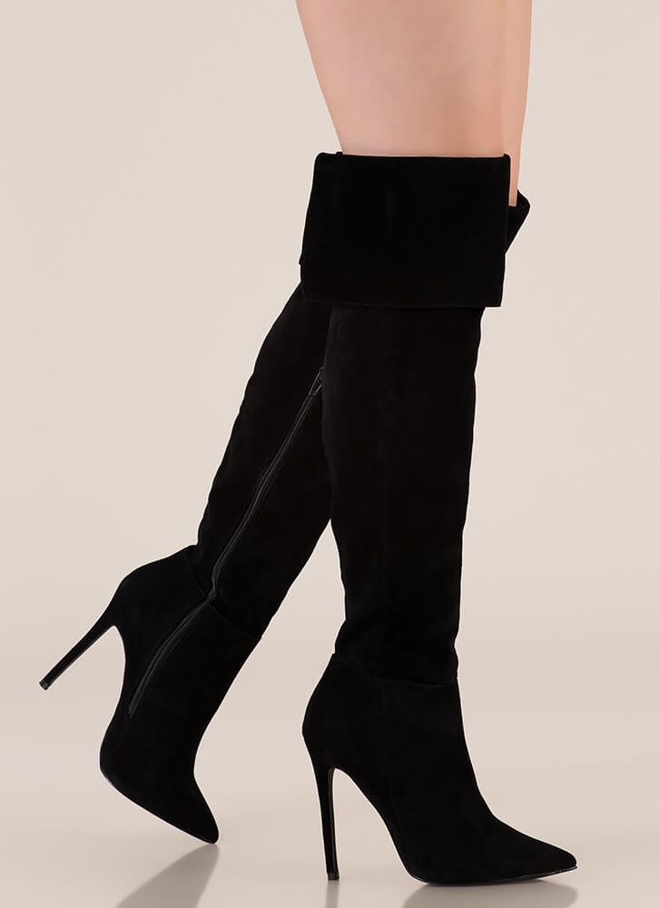 Luxe Faux Suede Over-The-Knee Boots BLACK