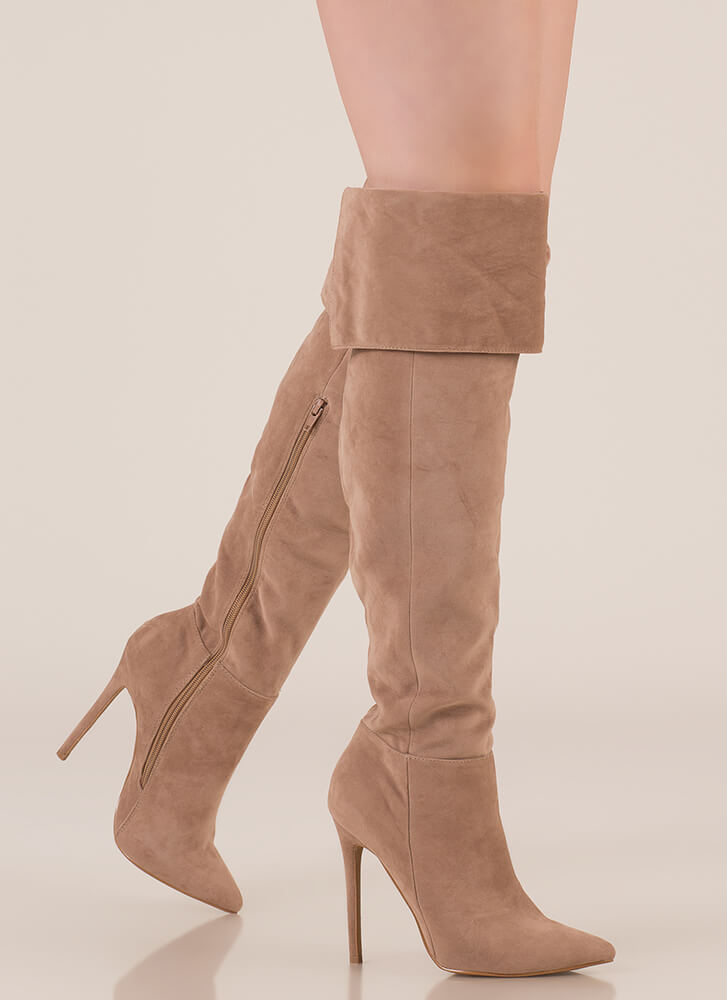 Luxe Faux Suede Over-The-Knee Boots TAUPE ...