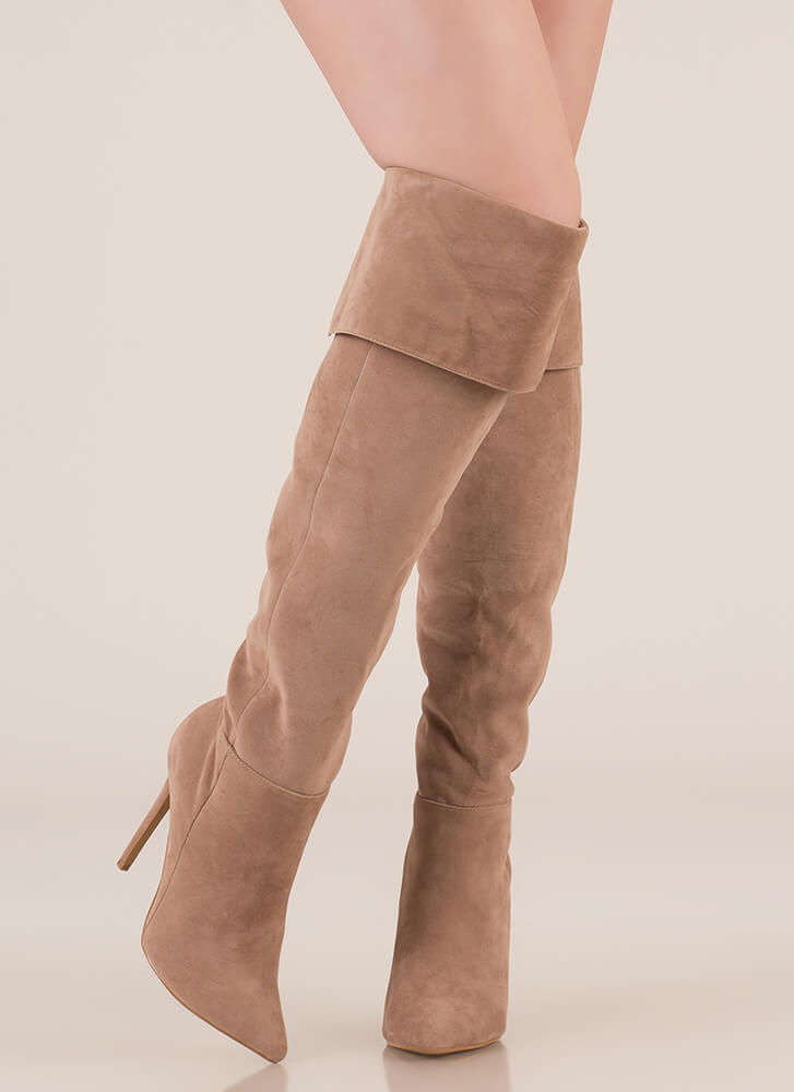Luxe Faux Suede Over-The-Knee Boots TAUPE