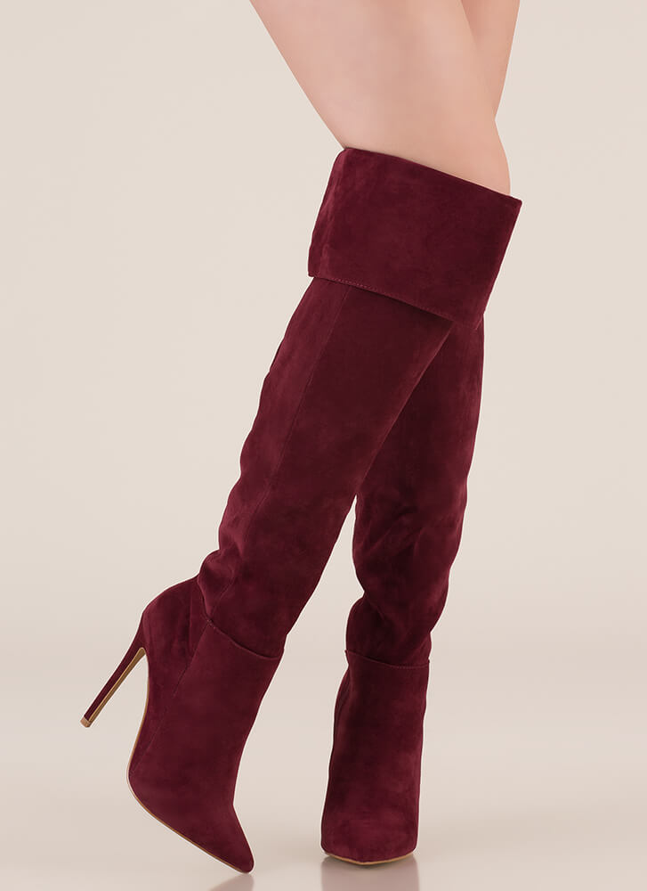 Luxe Faux Suede Over-The-Knee Boots WINE