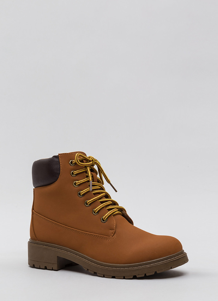 Great Outdoors Mixed Media Lug Boots HONEYWHEAT