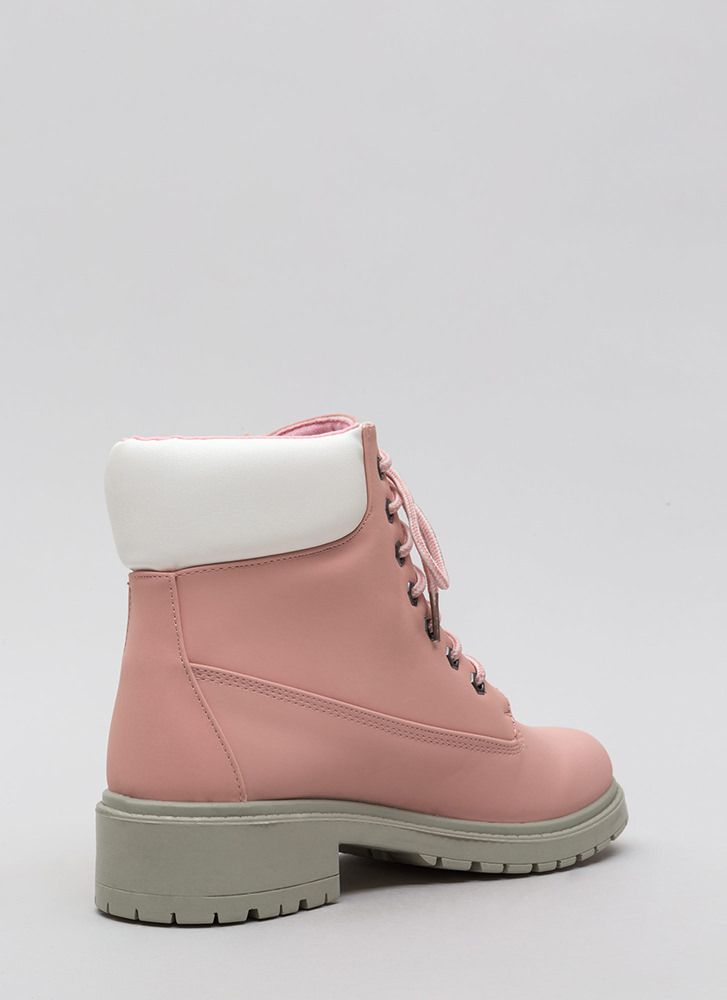 Great Outdoors Mixed Media Lug Boots PINK
