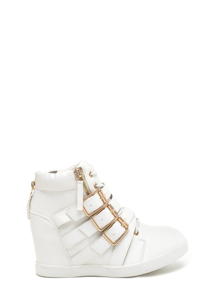 Bold 'N Buckled Sneaker Wedges WHITE