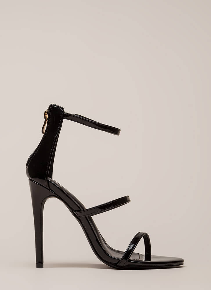 Strappy Life Single-Sole Heels BLACK