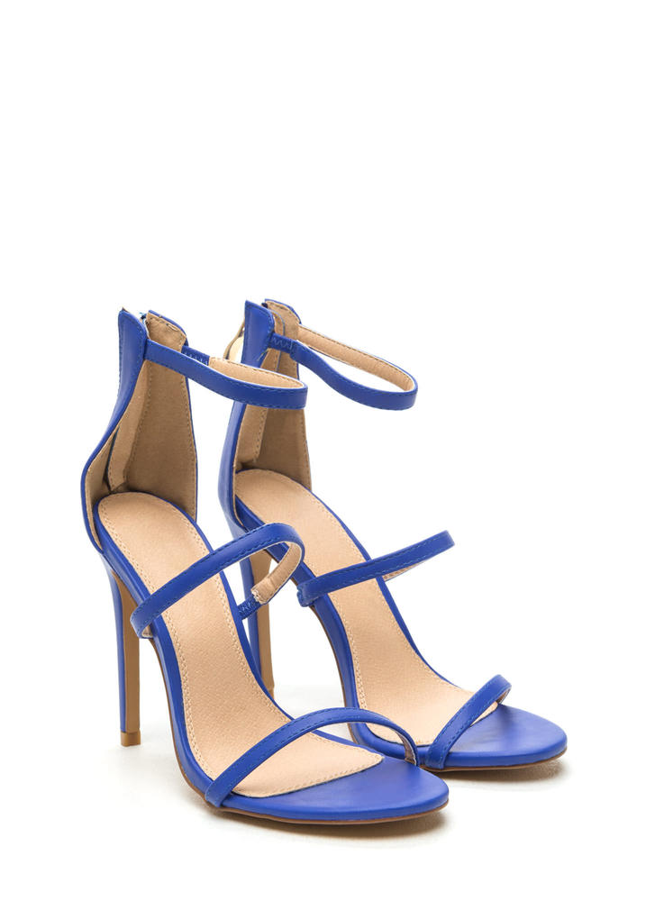 Strappy Life Single-Sole Heels COBALT