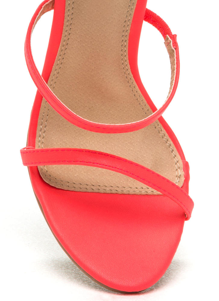 Strappy Life Single-Sole Heels NEONCORAL