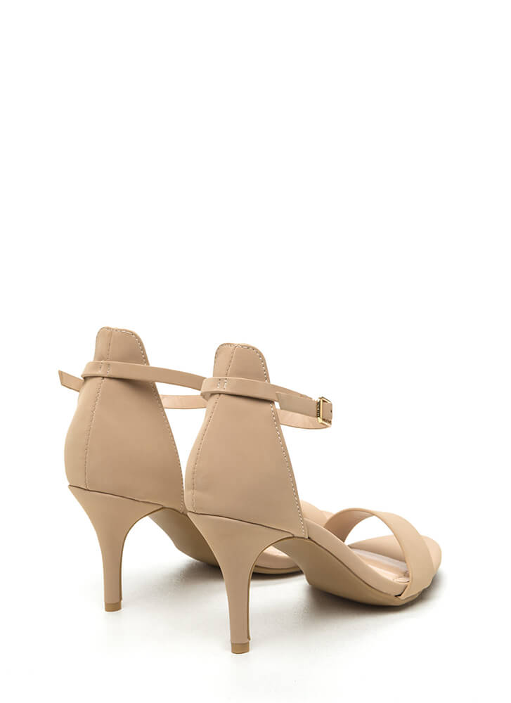 Come Up Short Ankle Strap Heels NUDE