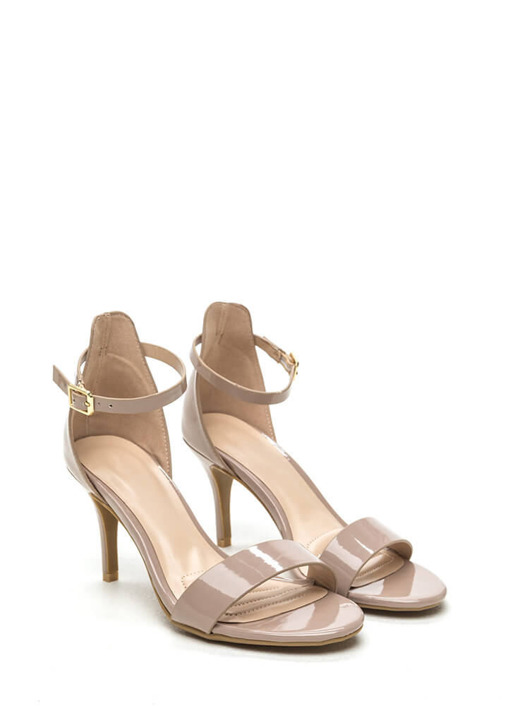 Come Up Short Shiny Strappy Heels NUDE