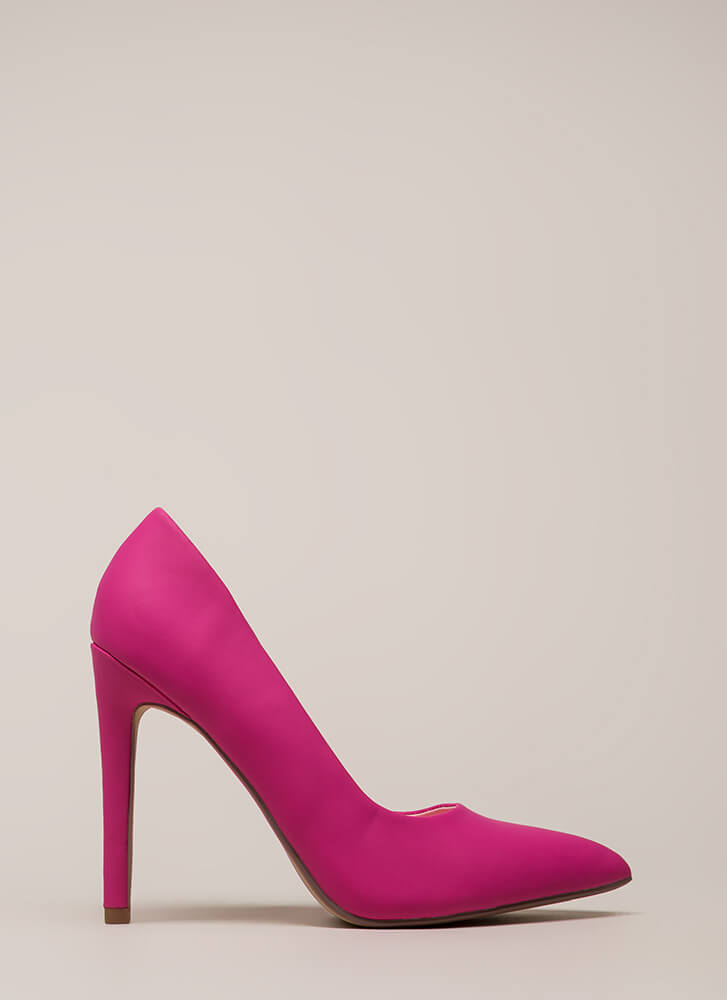 A-Game Pointy Faux Leather Pumps HOTPINK