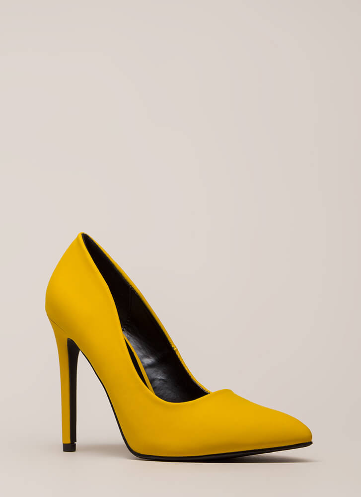 A-Game Pointy Faux Leather Pumps MUSTARD
