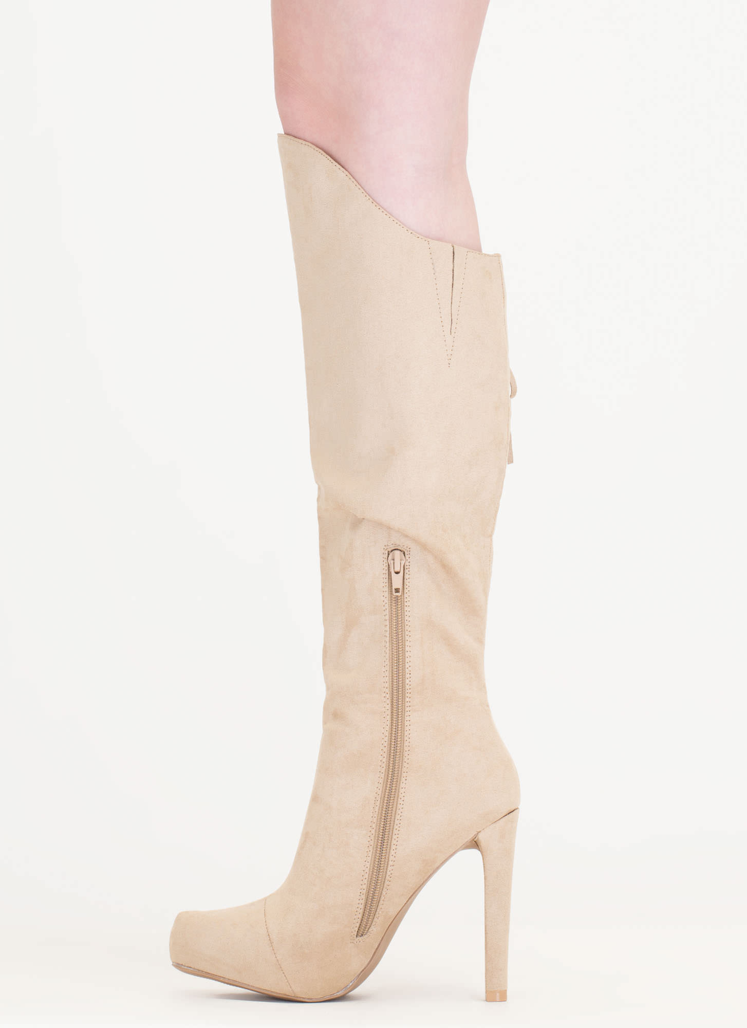 Long Live Fringe Over-The-Knee Boots TAUPE (Final Sale)